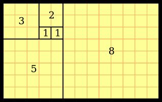 Fibonacci squares in a rectangle